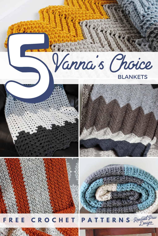 5 Blanket Crochet Patterns using Vanna's Choice Yarn - Rescued Paw