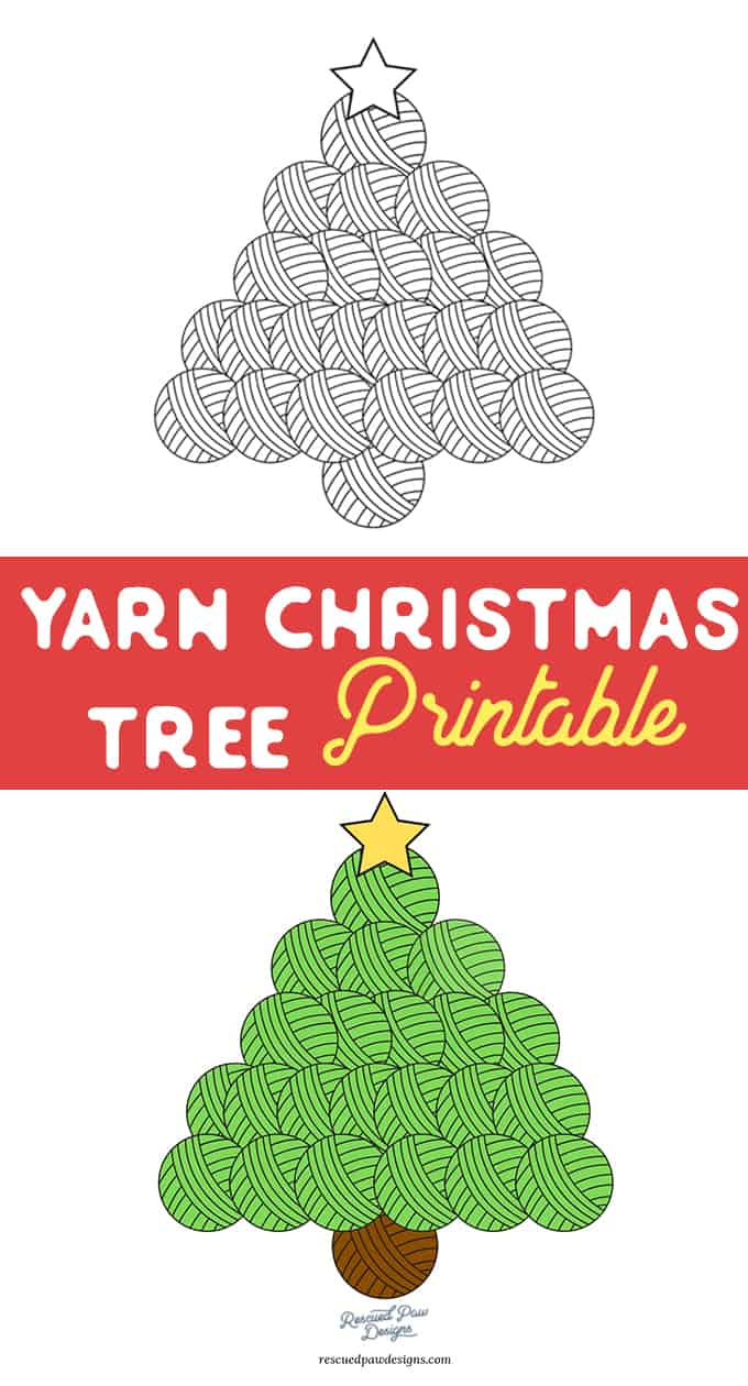 Yarn Tree Christmas Printable & Coloring Page