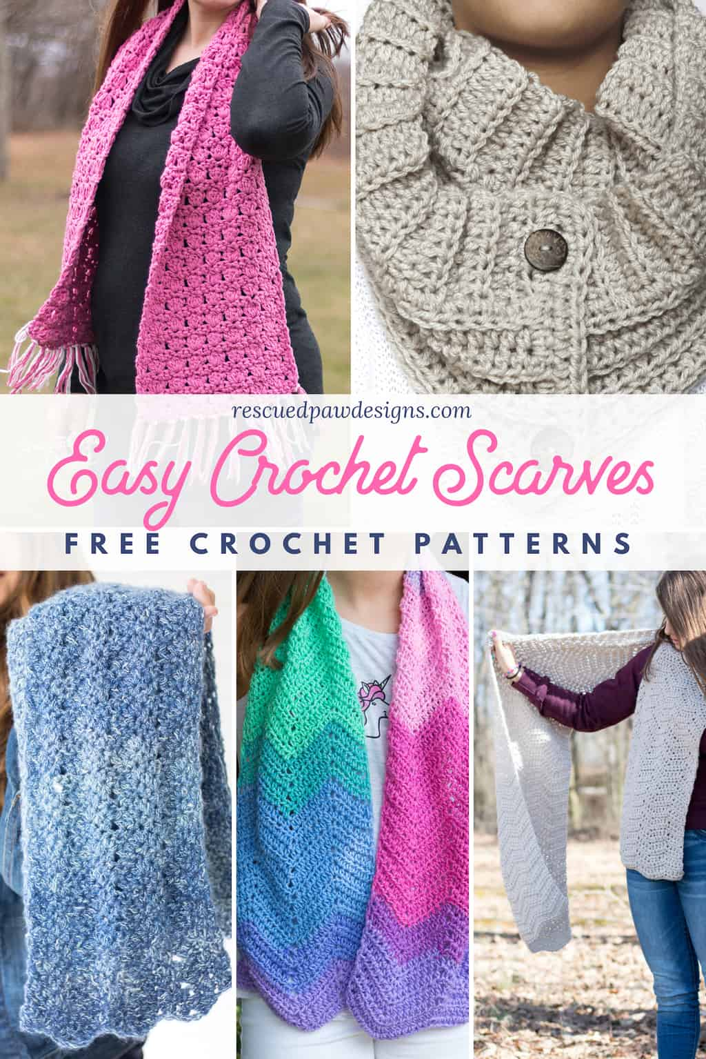 36383a015 5 Free Quick and Easy Crochet Scarf Patterns - Rescued Paw Designs ...