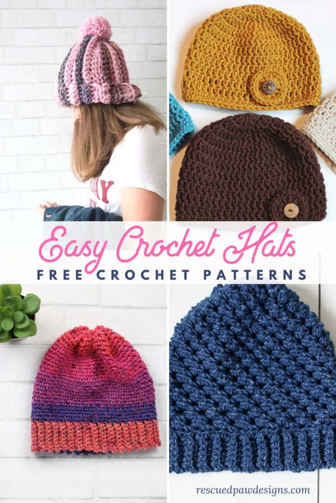 Easy Crochet Hat Patterns For Beginners Rescued Paw Designs