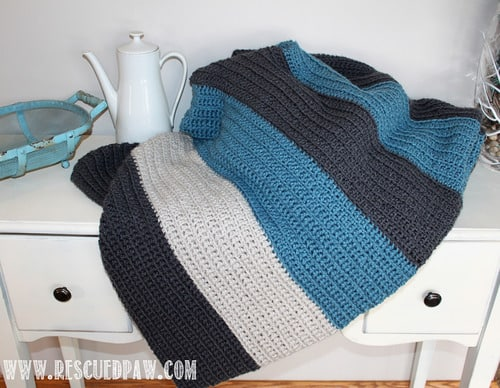 Simple Beginner Friendly Striped Crochet Blanket pattern