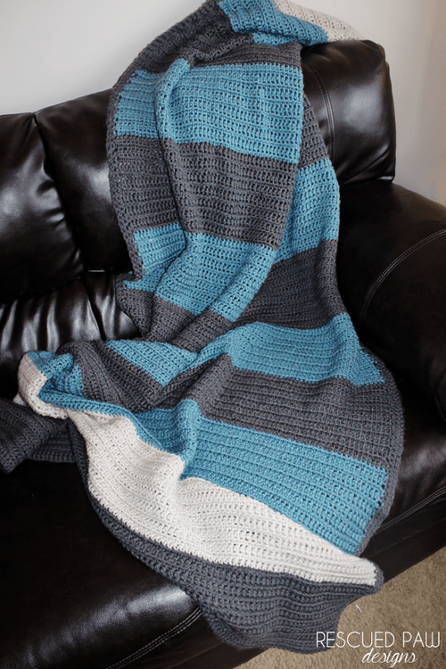 Color Blocked Beginner Blanket Crochet Pattern