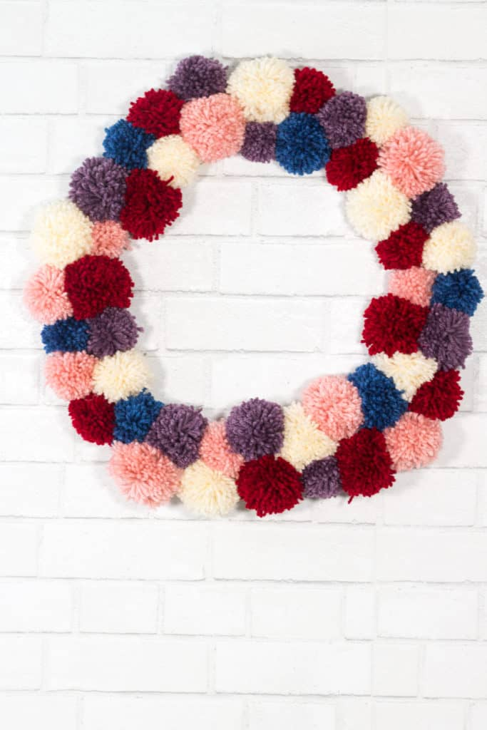 Yarn Ball Pom Pom Wreath