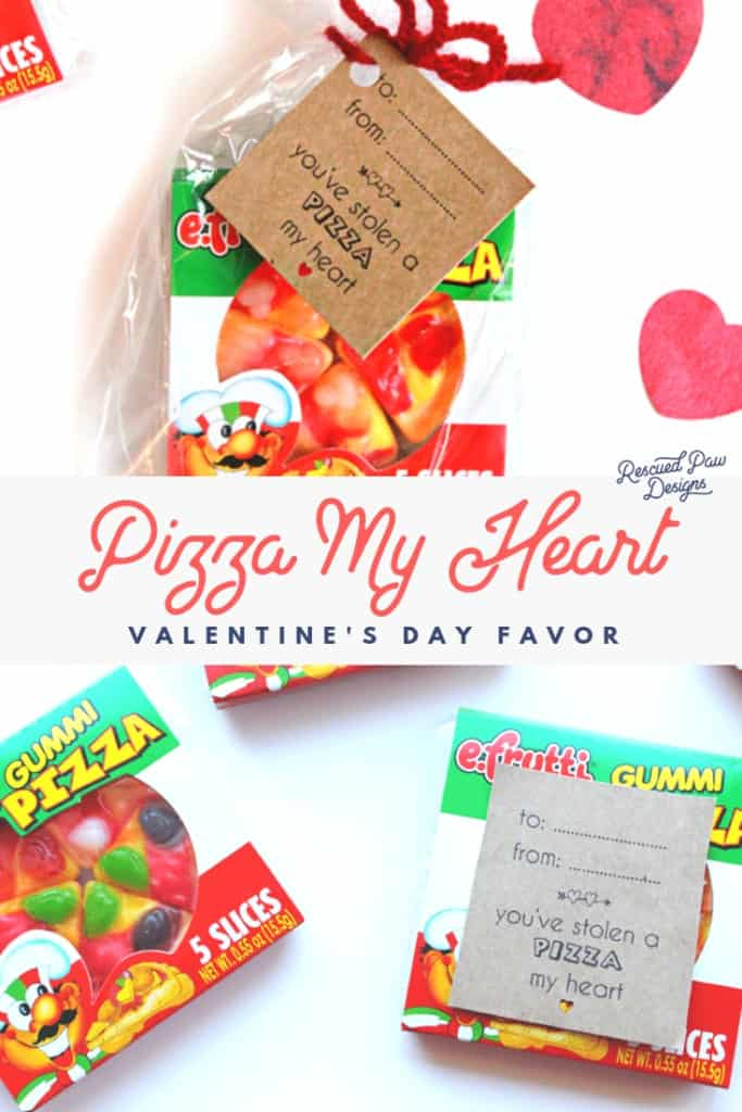 Pizza My Heart Valentine's Day Favor With Tag & Yarn