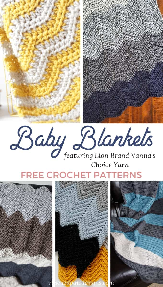 Crochet Baby Blankets that all use Vanna's Choice Yarn by Lion Brand