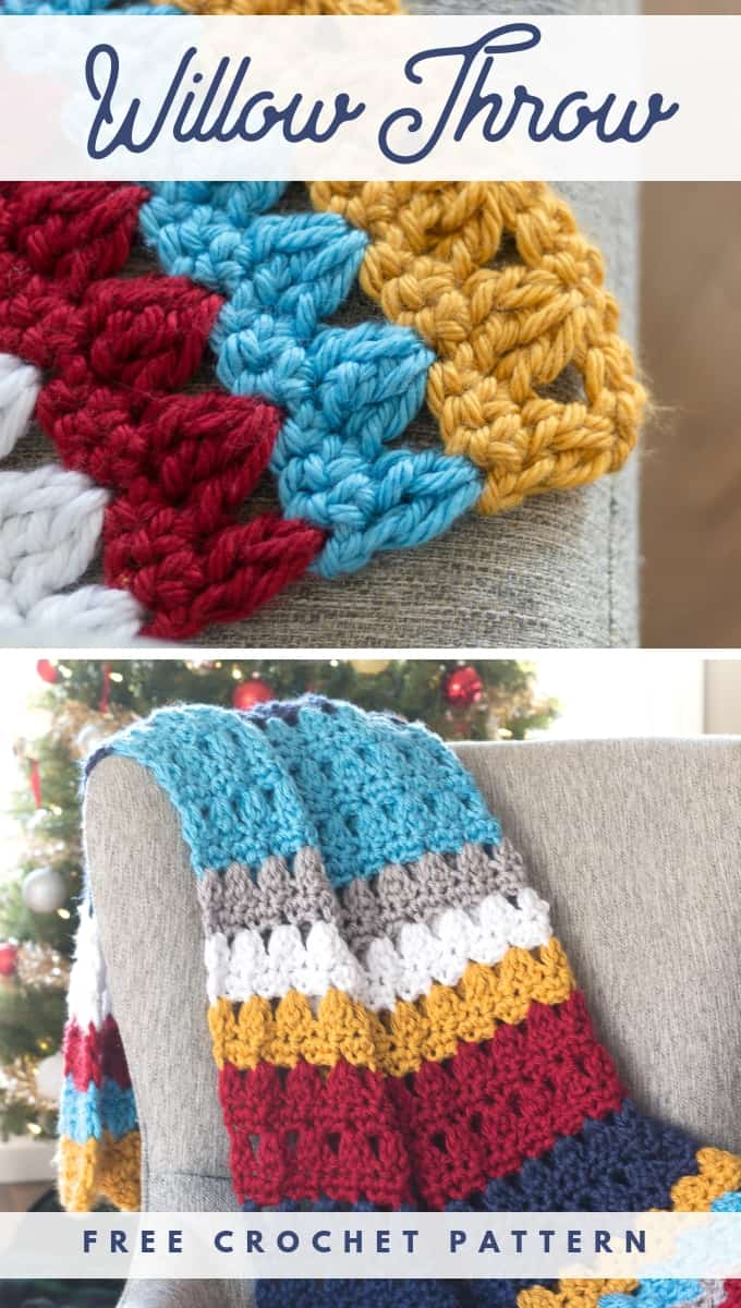 Striped Crochet Throw Blanket Pattern