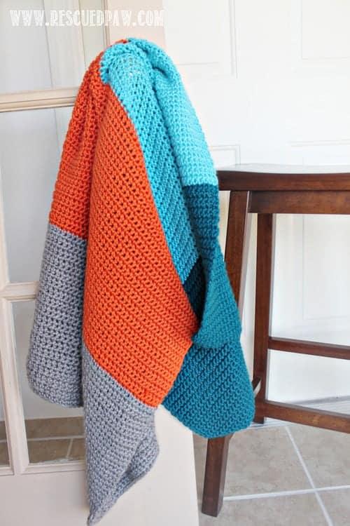 Free Crochet Color Block Striped Baby Blanket Crochet Pattern