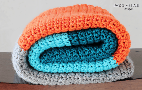 Blue, Orange & Grey Crochet Baby Blanket Pattern