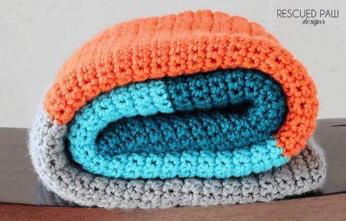 Blue, Orange & Grey Crochet Baby Blanket Pattern