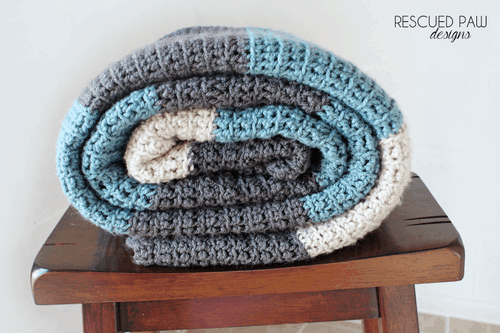 Simple Color Blocked Crochet Blanket Pattern From Rescued Paw Designs
