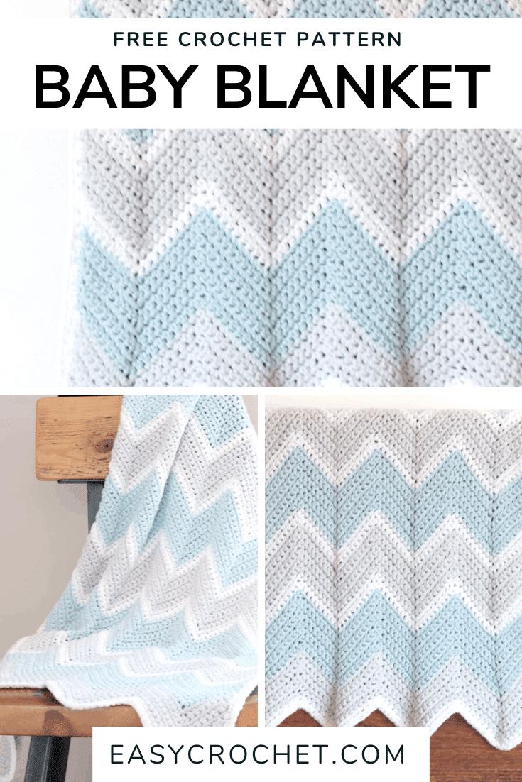 Chevron Baby Blanket Crochet Pattern via @easycrochetcom