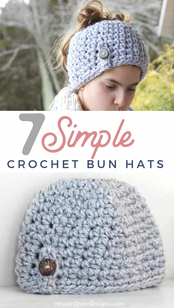 7 Free Messy Bun Crochet Patterns - Rescued Paw Designs