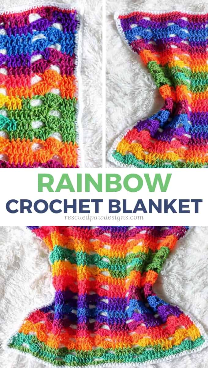 Rainbow Crochet Blanket Pattern Rescued Paw Designs