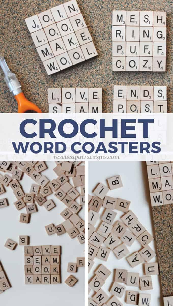 Crochet Scrabble Tile Coasters DIY