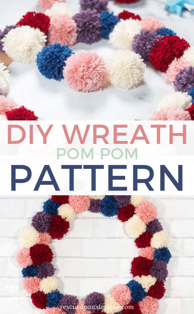 pom pom yarn wreath pattern