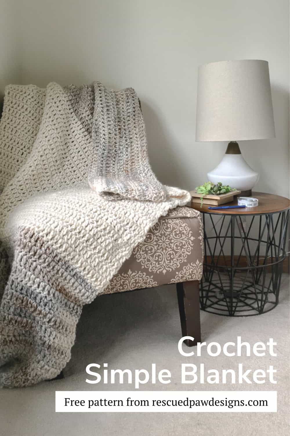 Double Crochet Blanket Pattern via @rescuedpaw