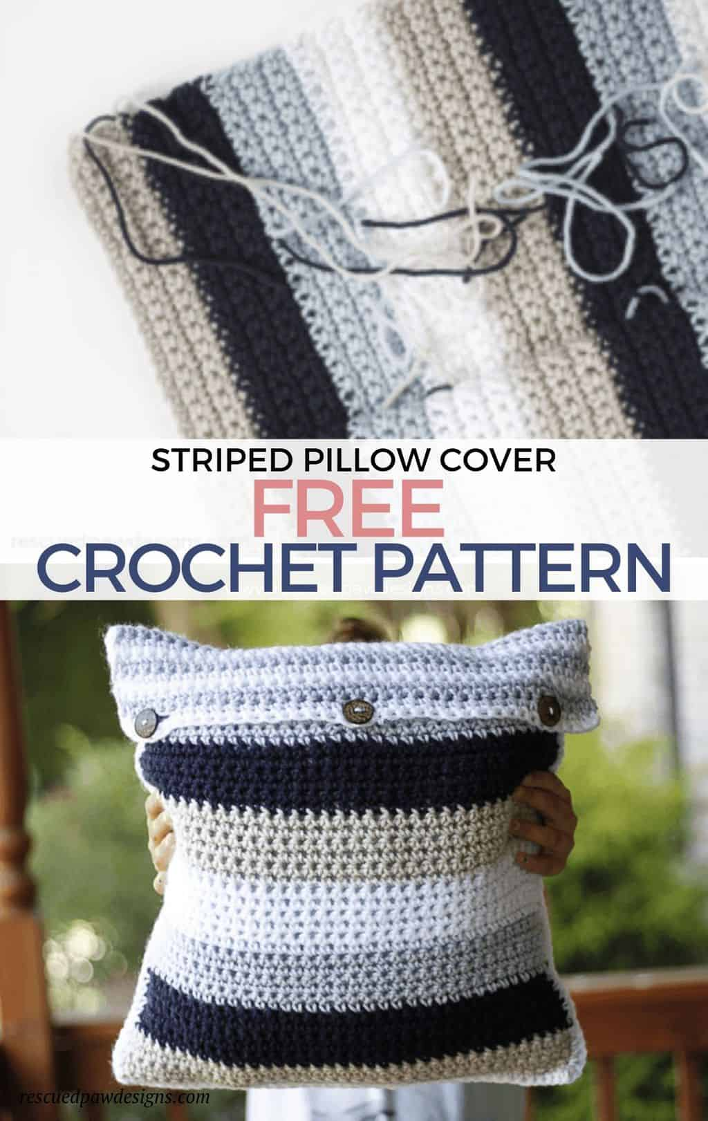 Striped Crochet Pillow Cover Free Crochet Throw Pillow Pattern