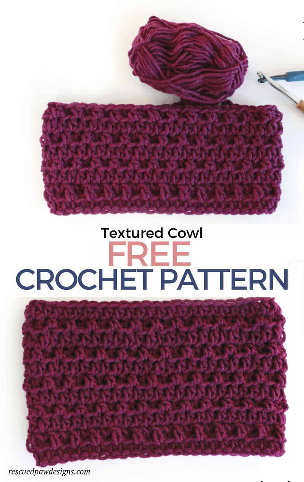 Free Textured Crochet Cowl Pattern