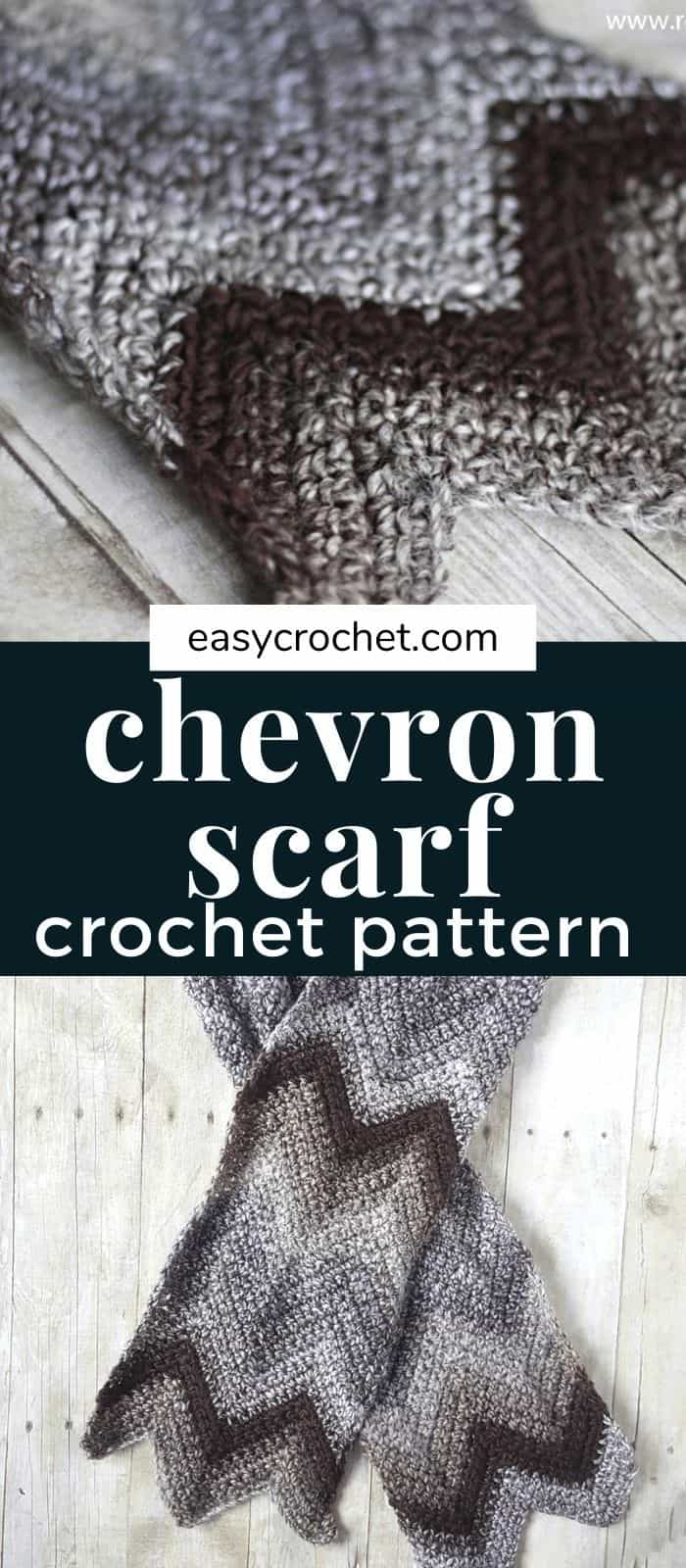 Free Chevron Scarf Crochet Pattern that is simple and fast to work up! via @easycrochetcom