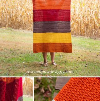 Fall crochet afghan blanket pattern using the HHDC stitch