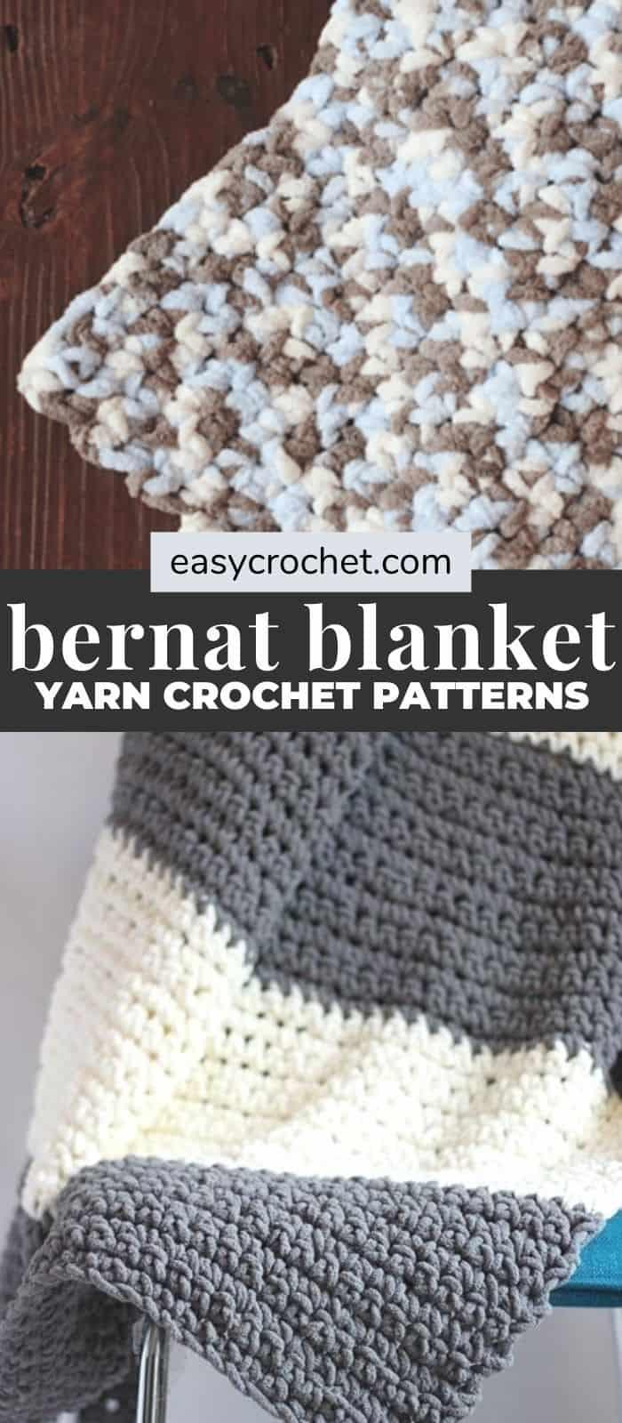 Bernat BLanket Yarn Crochet Blanket Patterns via @easycrochetcom