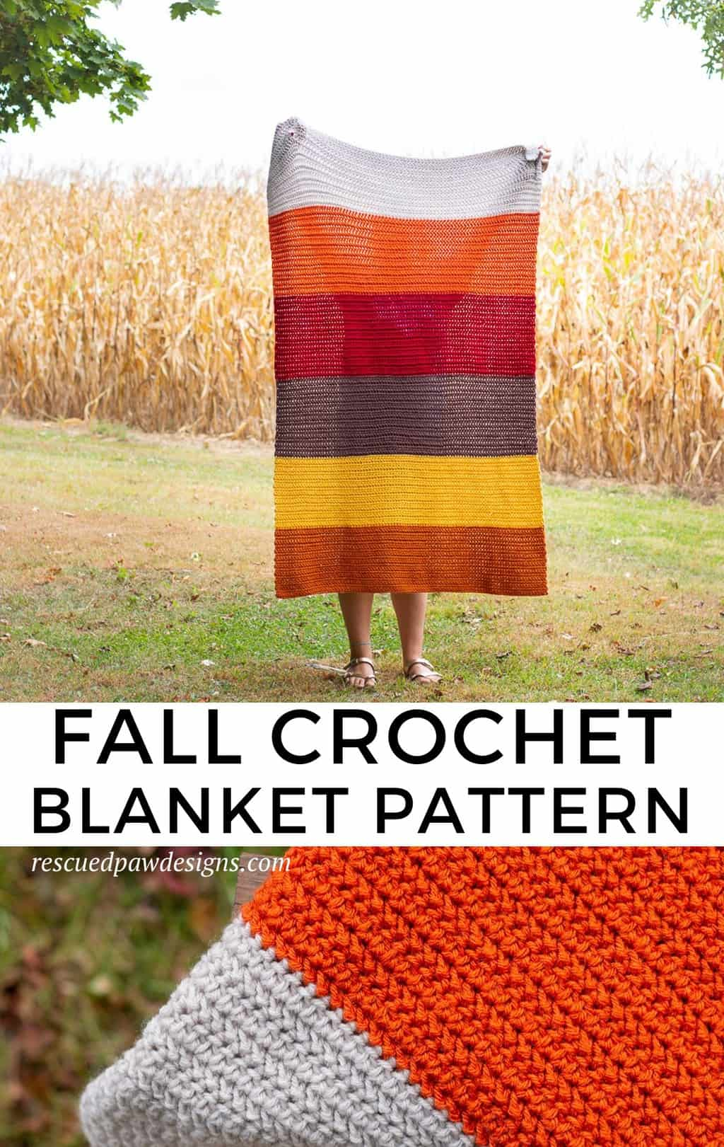 Color Blocked Crochet Blanket Pattern using the herringbone half double crochet stitch HHDC