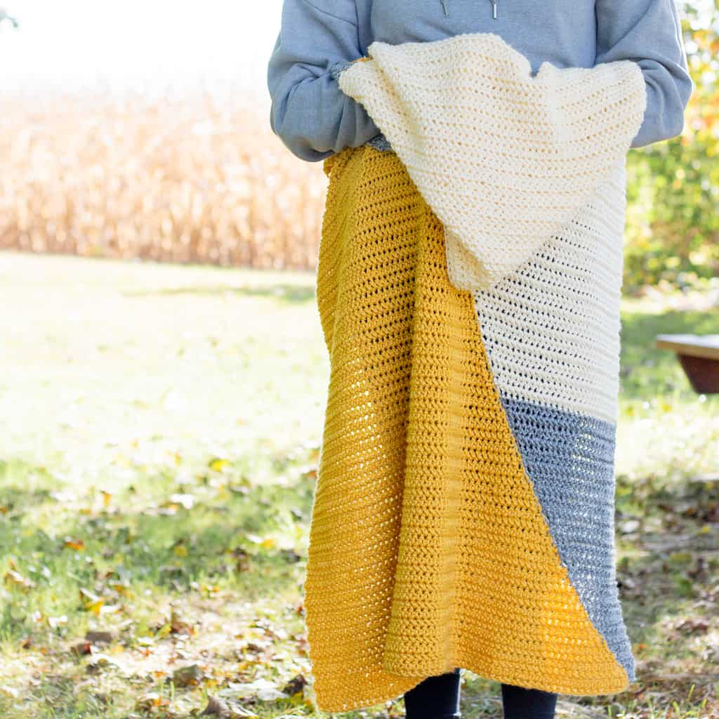 Modern Crochet Baby Blanket using two triangles