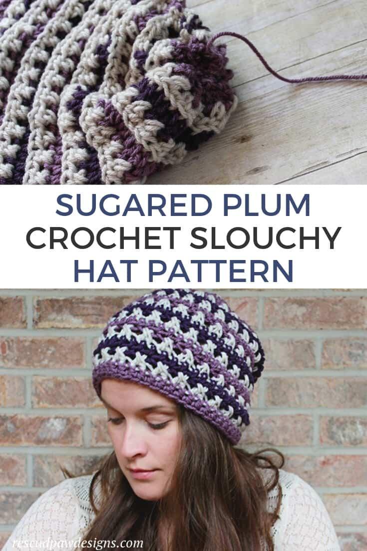 Plum Slouchy Crochet Hat Pattern