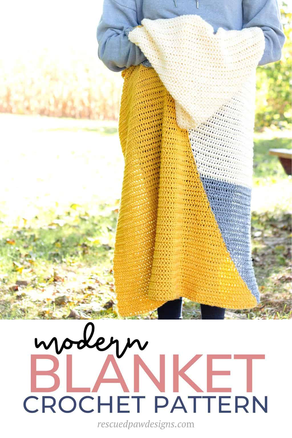 How to Crochet a Baby Blanket using two triangles