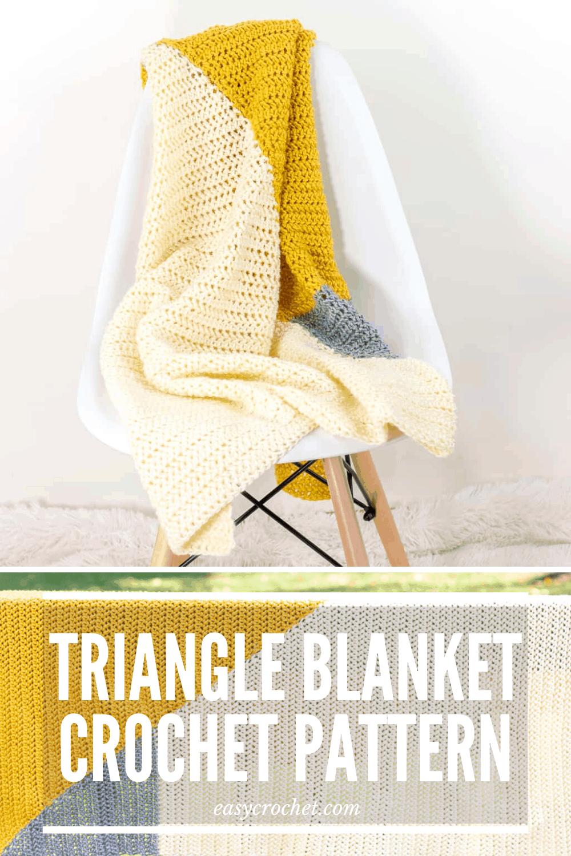 Free Crochet Baby Blanket using just TWO triangles! Simple to crochet using the herringbone half double crochet stitch. via @easycrochetcom