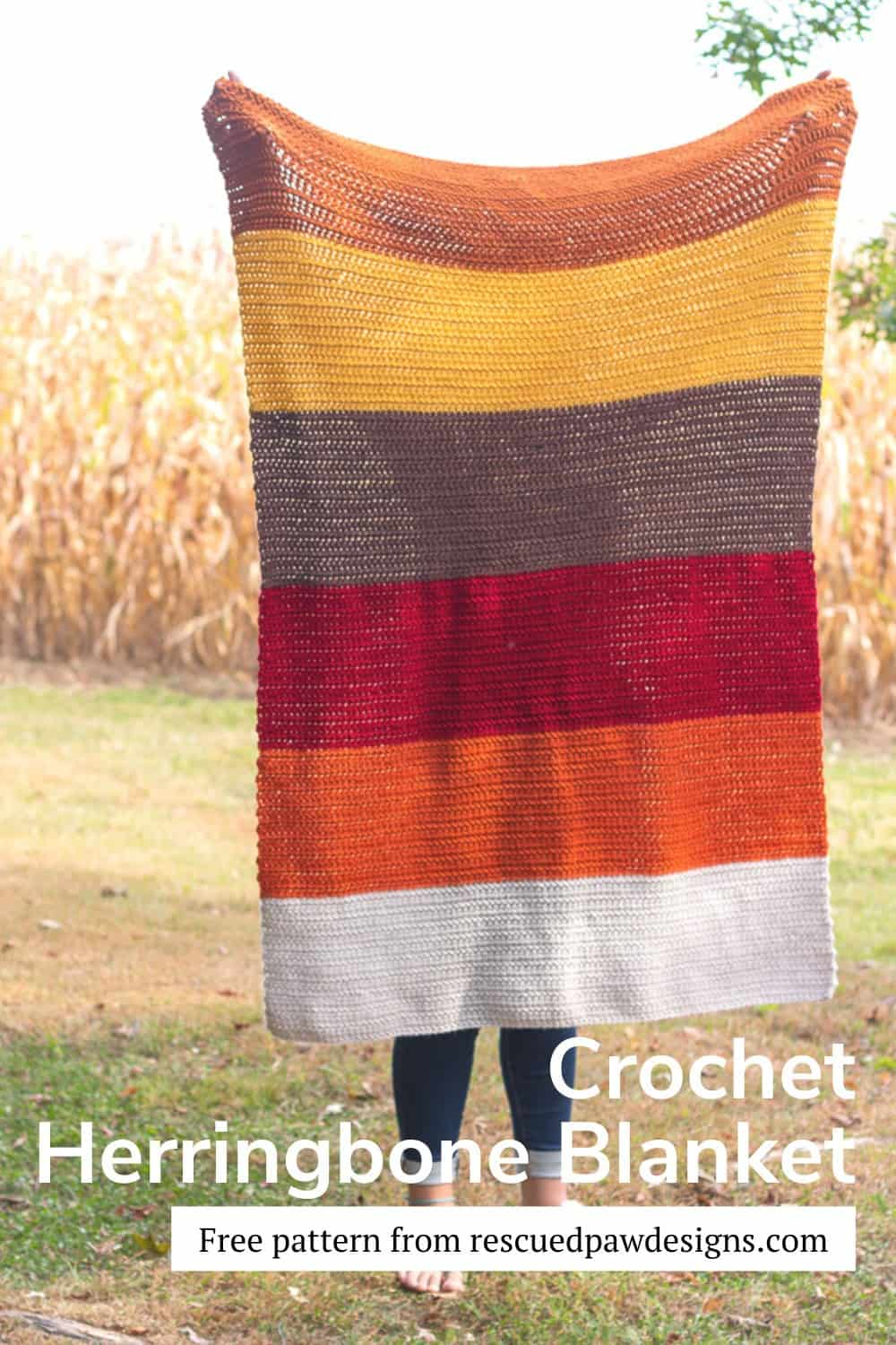 Herringbone Half Double Crochet Fall Blanket Pattern via @rescuedpaw