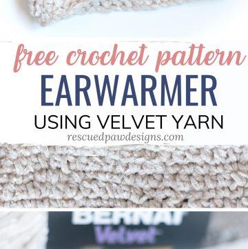 Bernat Velvet Yarn Crochet Earwarmer Pattern
