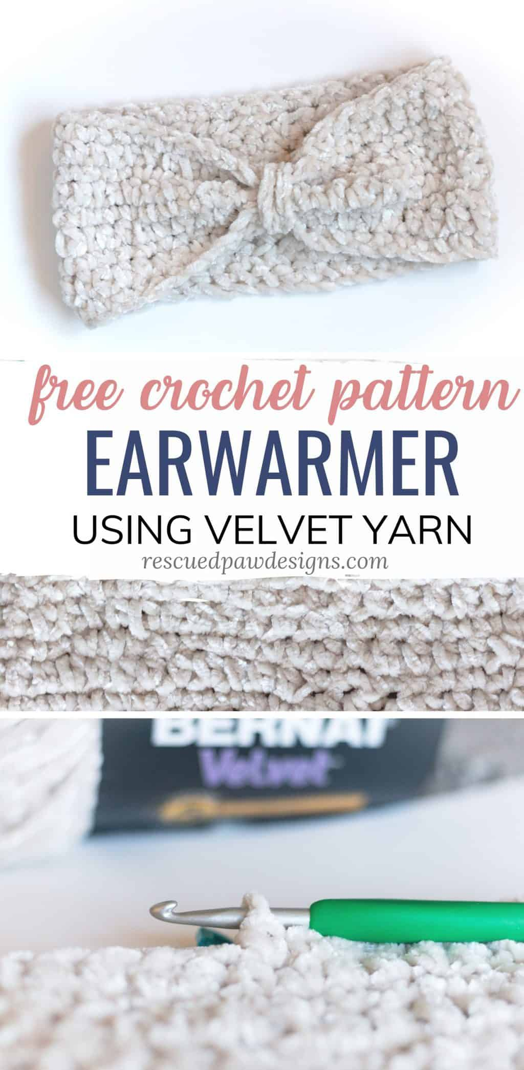 Velvet Yarn Crochet headband Pattern