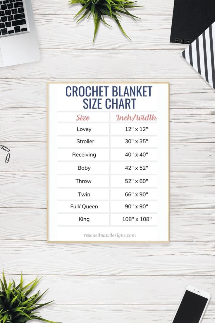 Crochet Blanket Size Chart Printable Easycrochet Com