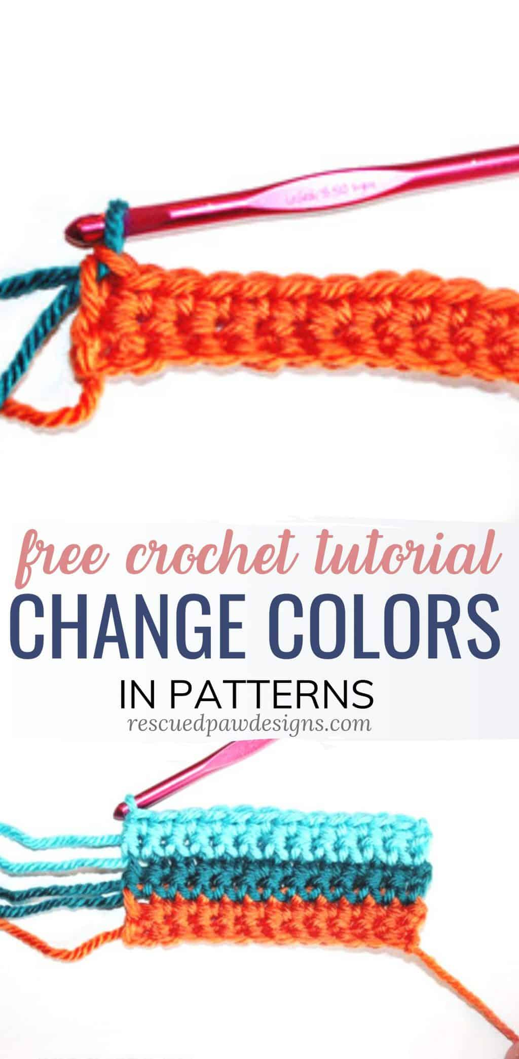 Change colors in crochet tutorial