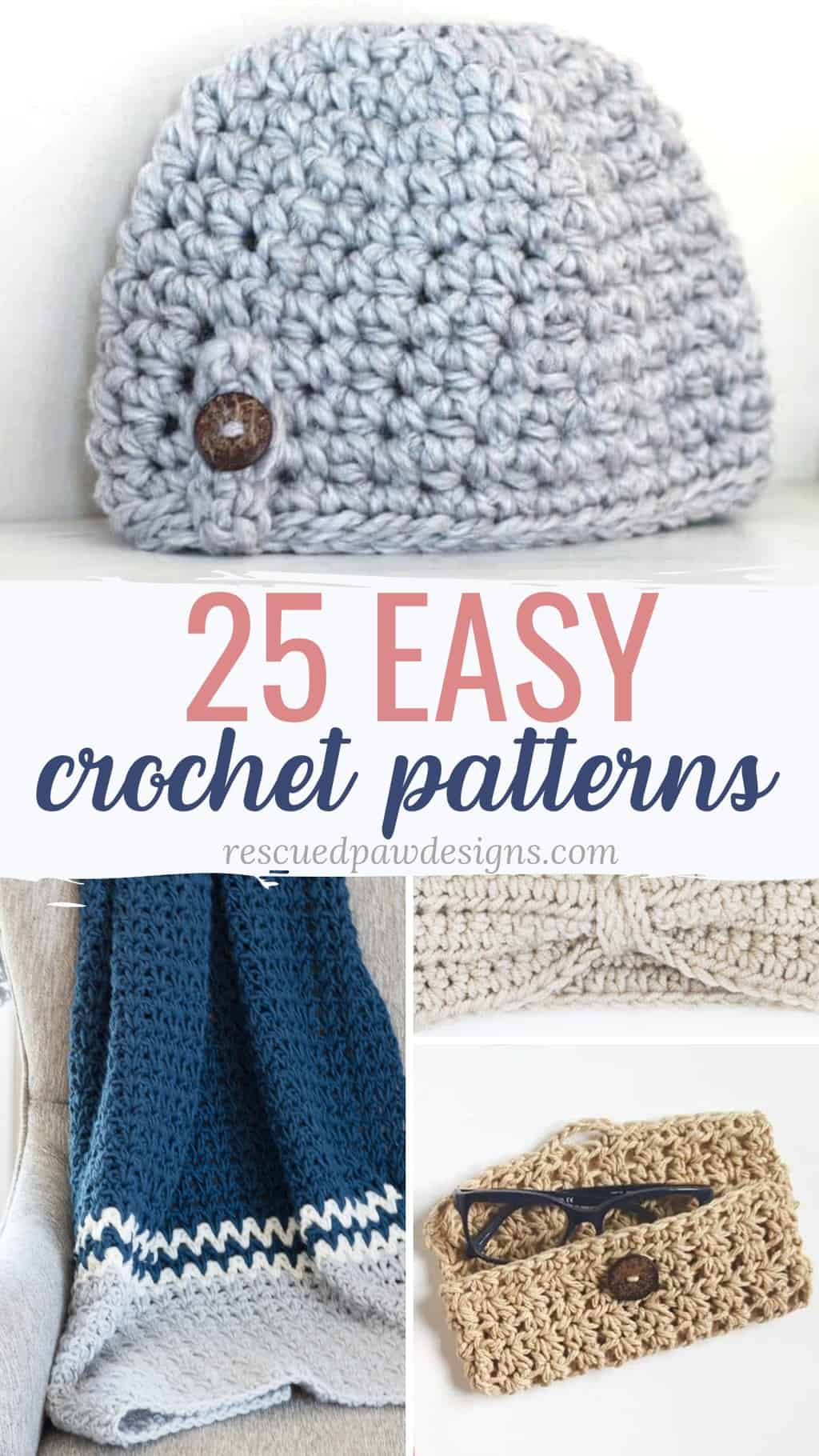 Twenty-five quick & easy crochet patterns that you can crochet. Great for beginners or someone who wants to crochet a fast project. List from Rescuedpawdesigns.com #easycrochetpatterns #beginnereasypatterns #freecrochetpatterns via @rescuedpaw