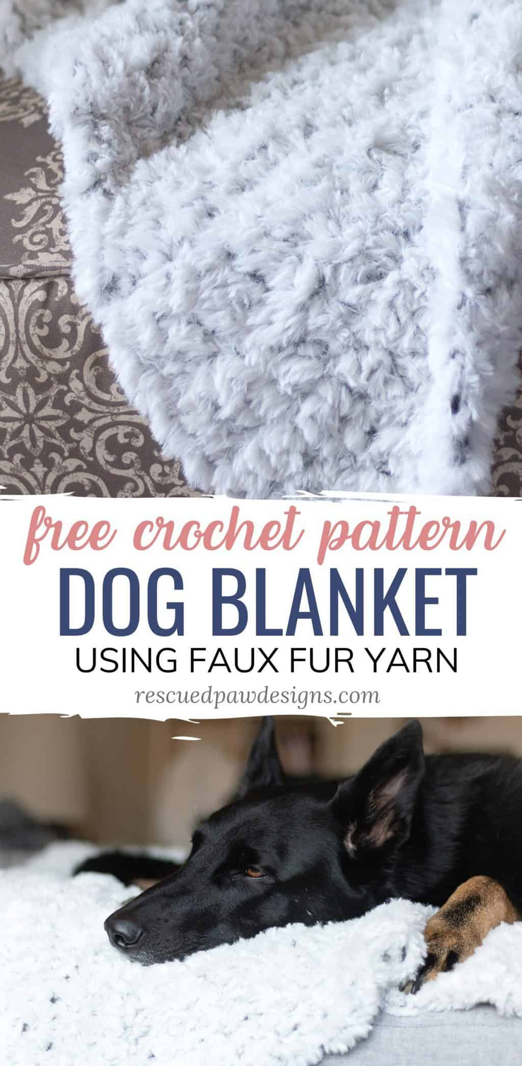 Crochet Dog Blanket using Faux Fur Yarn and single crochets