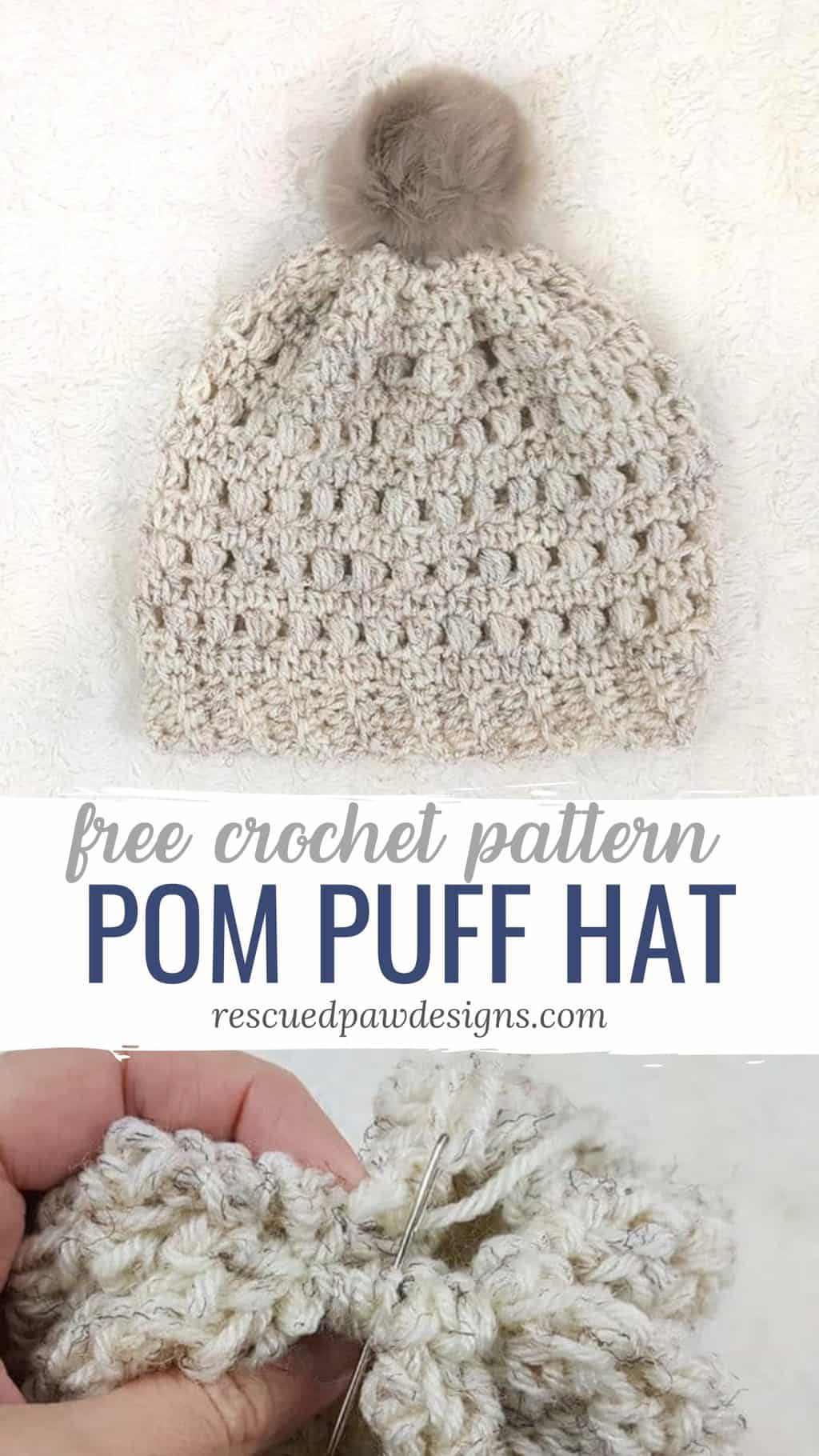 Pom Puff Hat Crochet Pattern