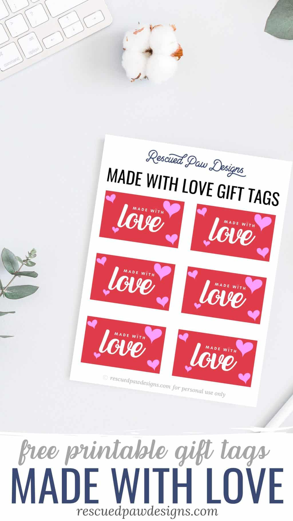 Made with Love Gift Tag Labels - Free Printable