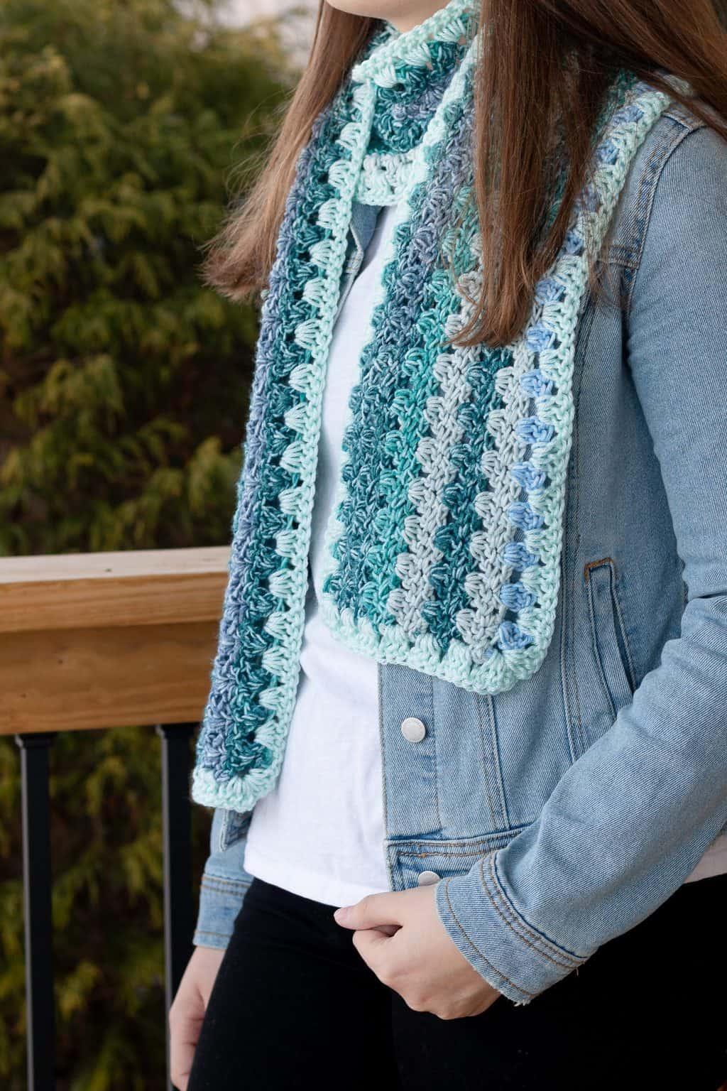 Teal Crochet Scarf Pattern Ombre