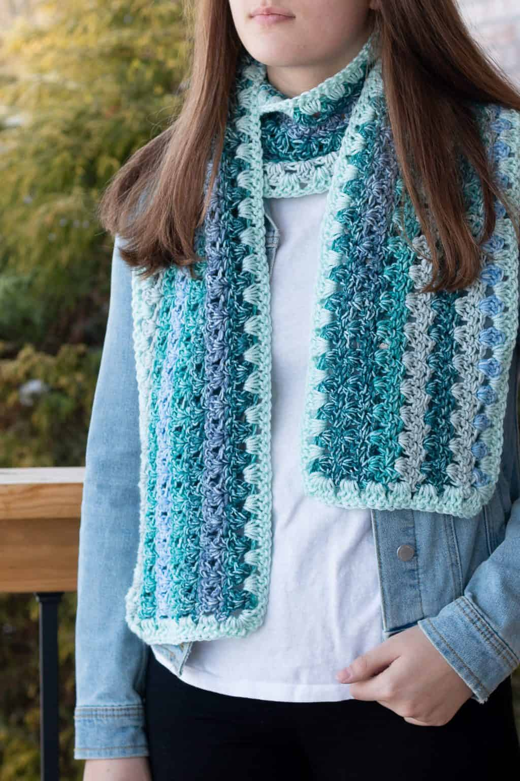 Crochet Scarf Pattern with Ombre Yarn from Lion Brand