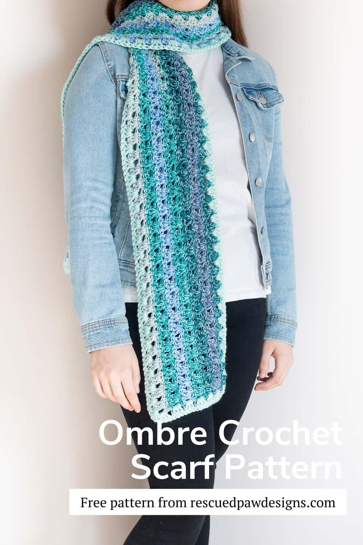 Free Ombre Crochet Scarf Pattern via @rescuedpaw