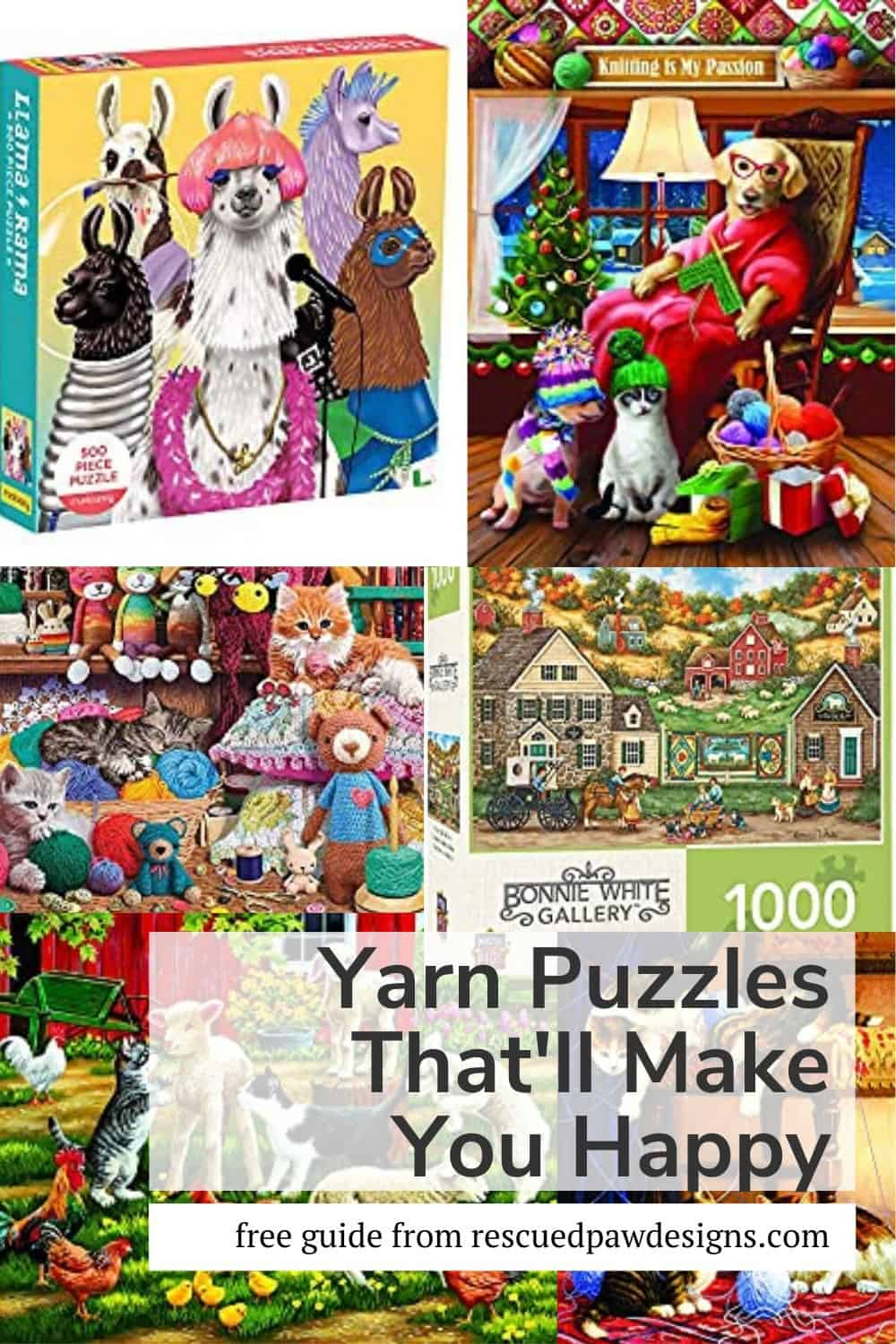 Yarn Jigsaw Puzzles that feature yarn, sheep, lambs and more!