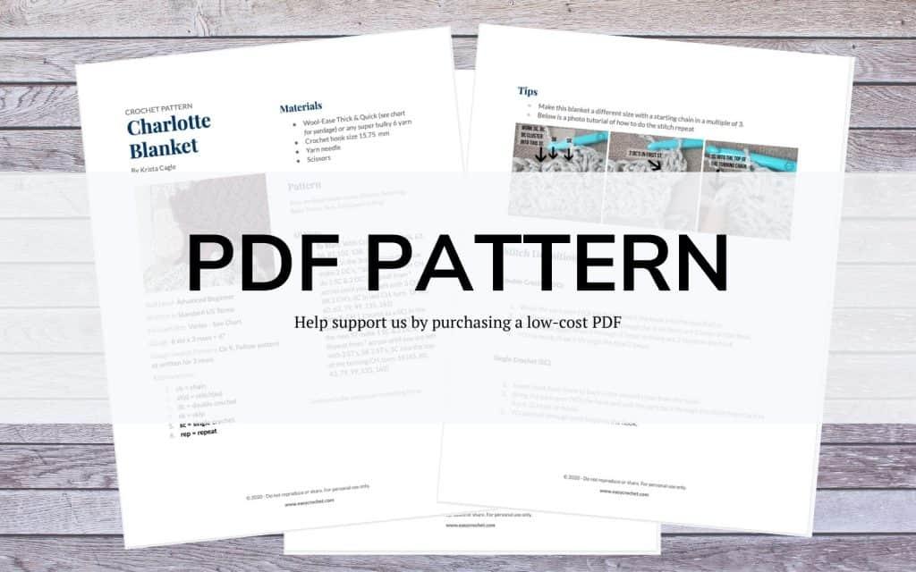 PDF Crochet Pattern Charlotte Blanket
