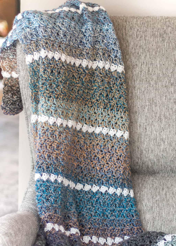 soft baby blanket lap throw wheelchair blanket Crochet Sunny stripe lap blanket