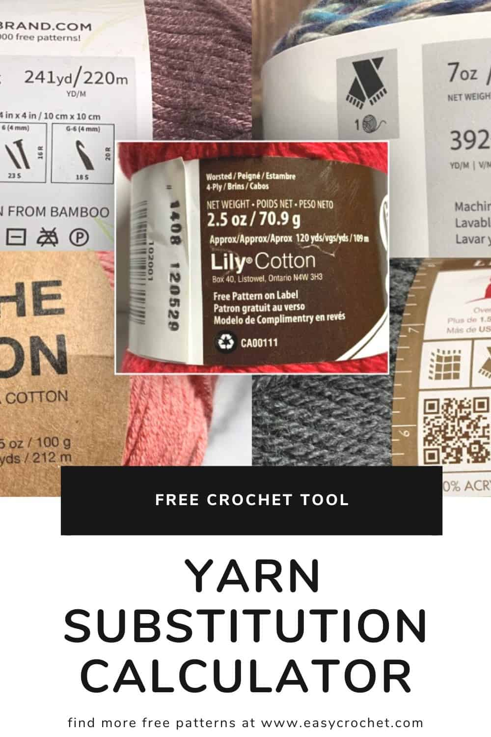 Tool: Yarn Skein Substitution via @easycrochetcom