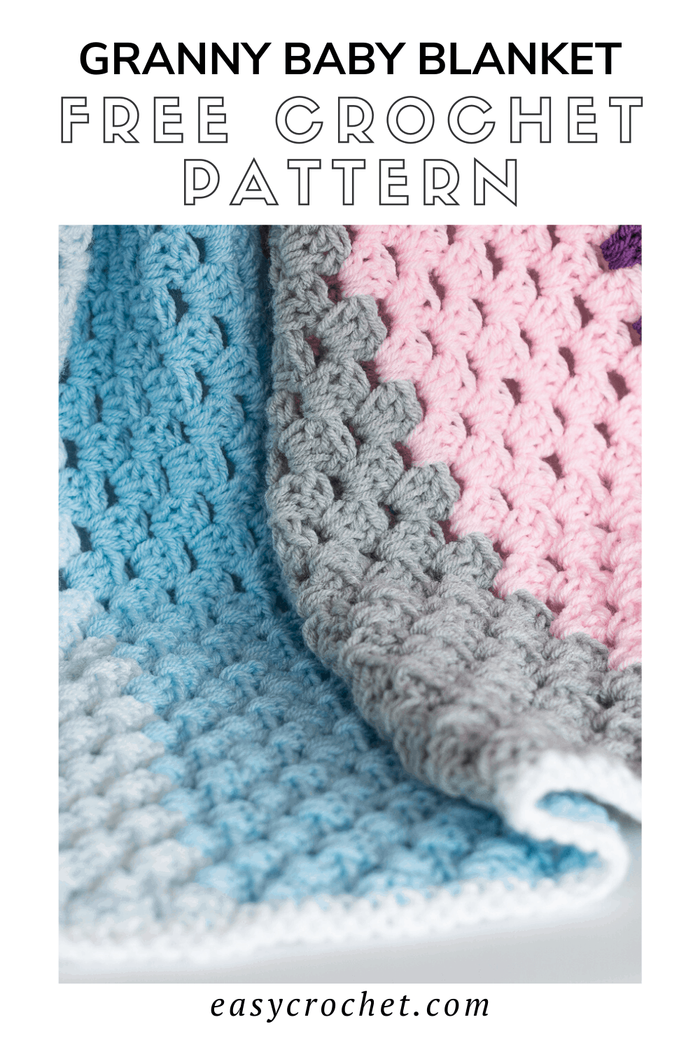 Granny Baby Blanket Crochet Pattern - Use this beginner-friendly granny stitch pattern to crochet an easy crocheted baby blanket pattern via @easycrochetcom