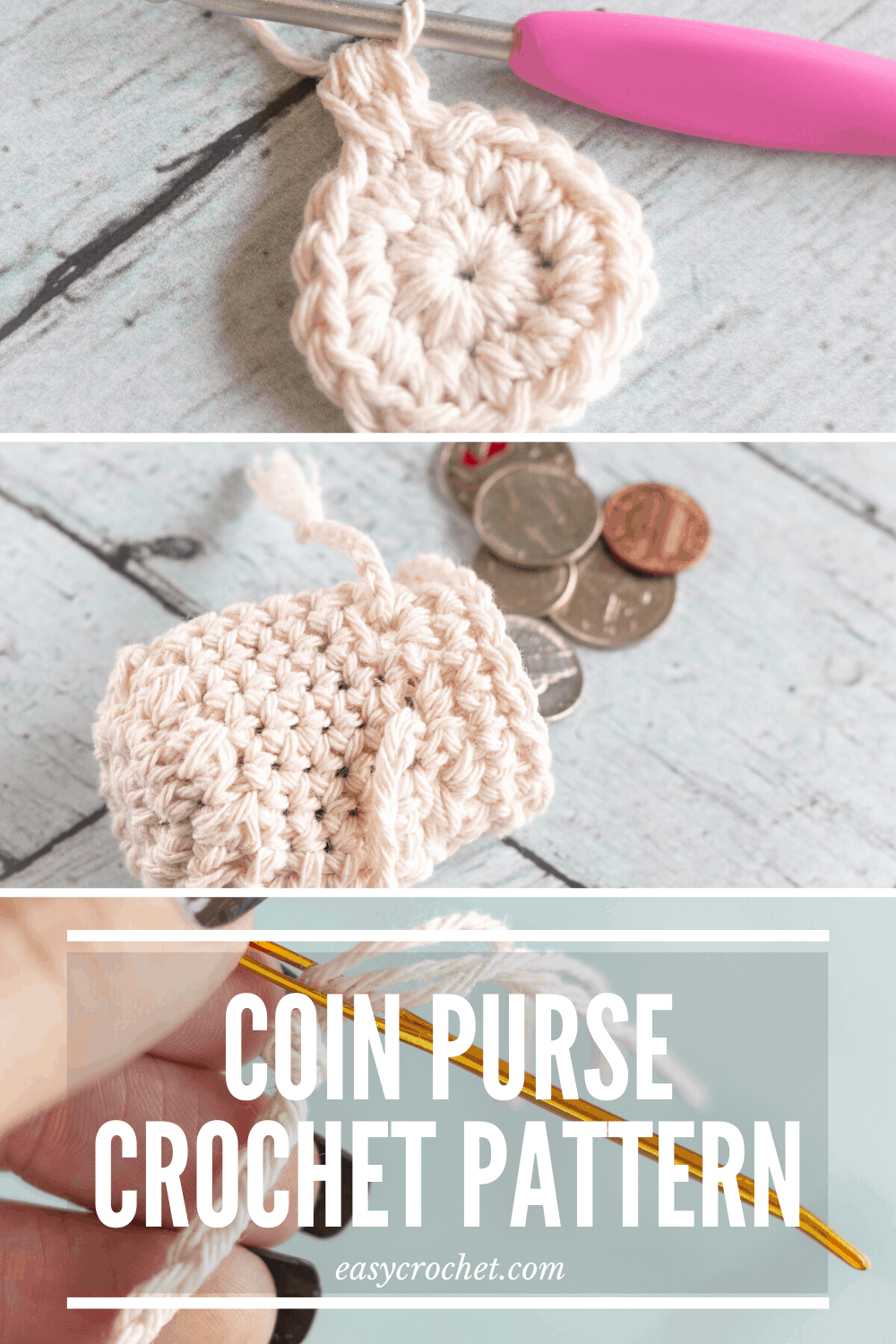 Crochet Coin Purse Pattern - Learn to crochet this coin purse with our free crochet pattern. via @easycrochetcom