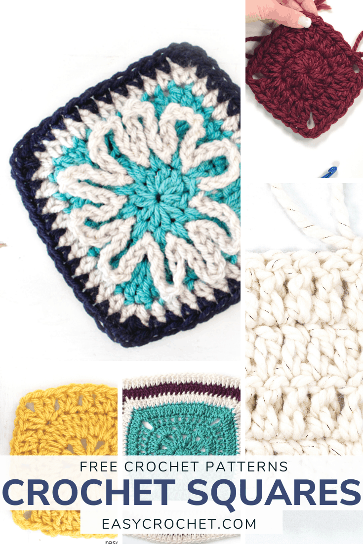 Easy to Crochet Squares. Pick from nine different squares to crochet that are all perfect or beginners! via @easycrochetcom