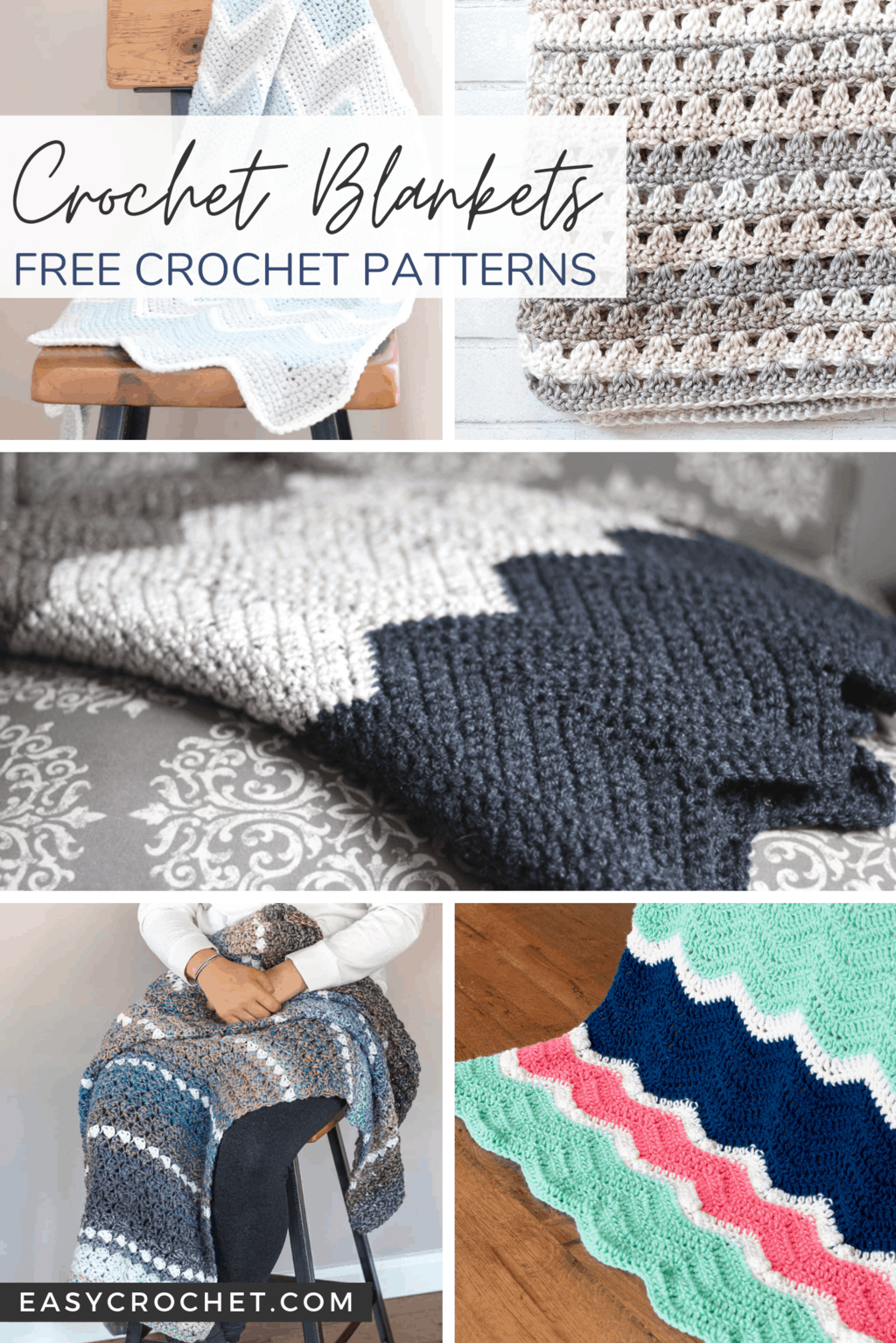 10 free crochet blanket patterns that are perfect for all skill levels of crocheters. Find all ten free patterns at easycrochet.com via @easycrochetcom